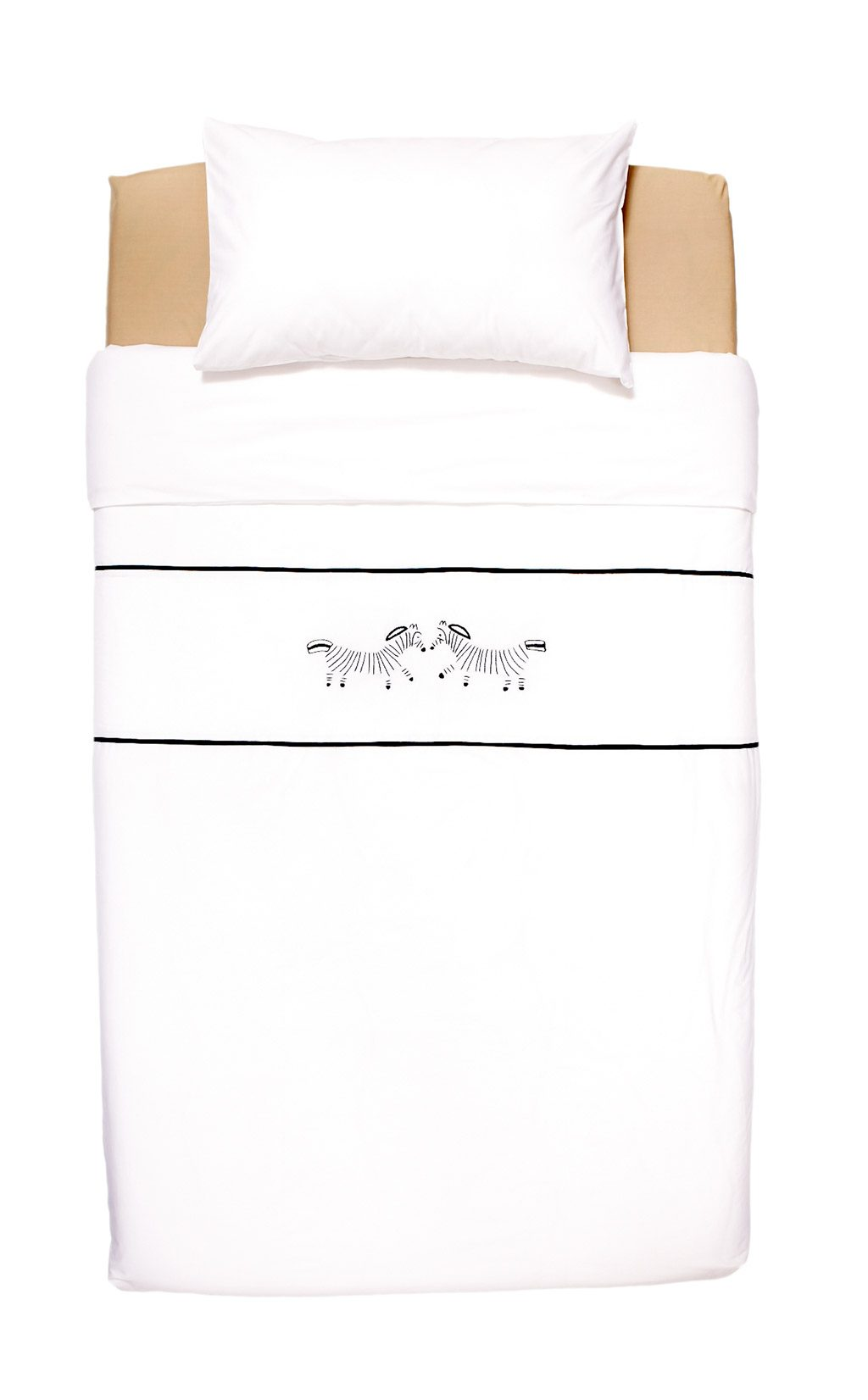 Bed Linen with hand embroidered zebra - top