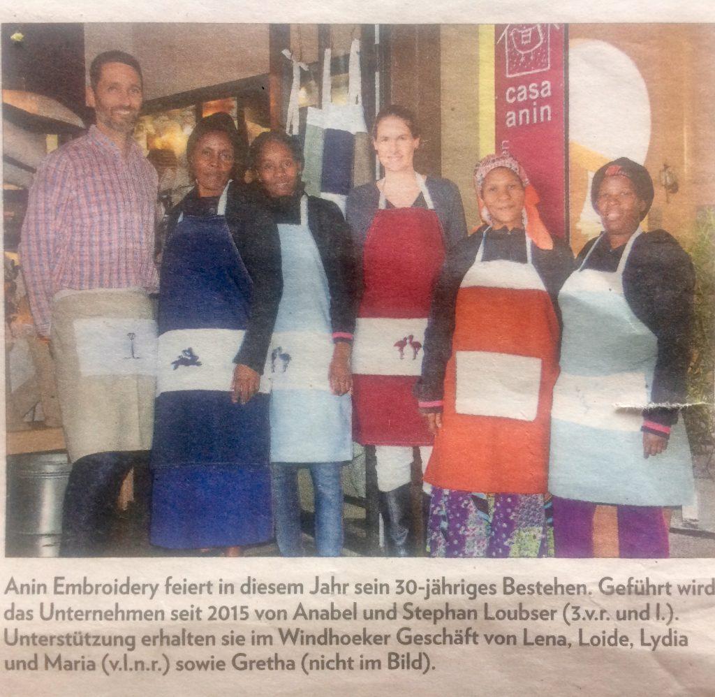 Algemeine Zeitung 30 jahre Anin Embroidery staff